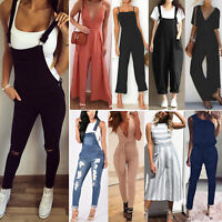 Womens Sleeveless Overall Casual Playsuit Jumpsuit Dungaree Romper Long Pant New