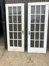vintage pair antique c1930/40 15 pane French doors 77/30/1.5� - 6.5� x 12� panes