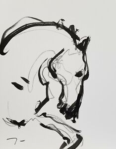 "JOSE TRUJILLO - NEW Minimalist Art ACRYLIC on Paper PAINTING 9x12"" HORSE - COA"