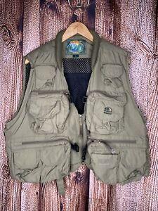 Hodgman Fly Fishing Hiking Vest Tan Khaki Mens Large Mesh Lining