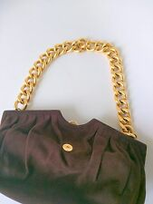 JIMMY CHOO Metallic Brown Suede Leather Evening Bag W/Antique Gold Chain