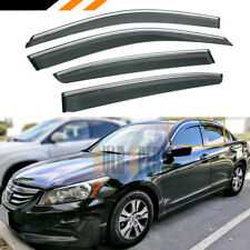FOR 08-12 HONDA ACCORD 4DR CHROME TRIM CLIP ON WINDOW VISOR RAIN GUARD DEFLECTOR