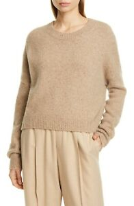 $395 VINCE OVERSIZED BOXY CREWNECK HEAVYWEIGHT CASHMERE SWEATER IN BEIGE SIZE XS