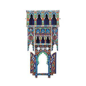 Painted Moroccan shelf, Wall Shelves Floating Shelves Blue, Rustic Floating