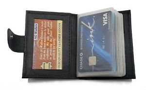 Mens Leather Credit Card Picture ID Holder 16 Plastic Inserts with Snap Close