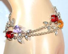 BRACCIALE ARGENTO donna strass cristalli lilla glicine ambra rossi bracelet F205