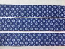 "BB Ribbon DENIM BLUE FLOWERS  2m grosgrain 7/8"" 22mm daisy floral pattern"