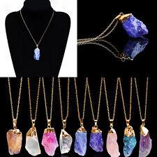 Brand New Agate Druzy Emperor Quartz Stone Natural Pendant Gold Chain Necklace