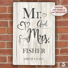 Personalised Mr And Mrs Sign, Metal Plaque Gift For Wedding Anniversary New Home