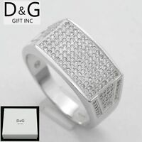DG Men's Sterling Silver 925.ICED-OUT CZ.Eternity Rings 7 8 9,10,11,12 13*Box