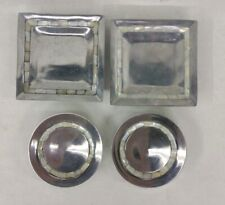 Set of 4 - Square & Round Silver w/ Mother of Pearl Inlay Pillar Candle Plates