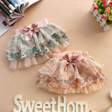 2-6Y Baby Girl's Ruffle Floral Tutu Mini Dress Princess Lace Bowknot Party Skirt