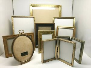 Lot of 10 Vtg Brass/Gold Tone Metal Picture Frames Glass Ornate Double & Single