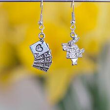Alice in Wonderland Rabbit and Poker Card Dangle Earrings
