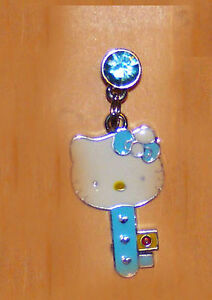 hello kitty blue key with blue bow charm dust plug charm cell phone