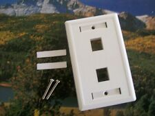100 -2 Port Keystone Faceplate White w/Windows RJ45 Face Plate USA SELLER!