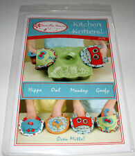 KITCHEN KRITTERS OVEN MITTS Hippo Owl Monkey pot holders fabric sewing pattern