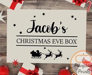 PERSONALISED CHRISTMAS EVE GIFT BOX NAME Children's Custom Santa Sticker Decal
