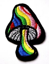 Mushroom Rainbow Embroidered Iron Sew On Patch Applique Badge Magic Psychedelic