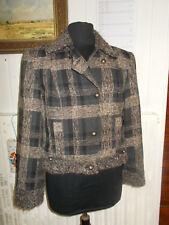 Veste blazer court laine/polyester carreaux marron/noir doublé PAUSE CAFE 44