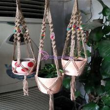 Jute Macrame Plant Hanger Indoor Outdoor Hanging Planter Basket Rope String YB