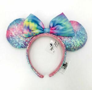 Ears Headband Sequin Minnie Mouse Disney Parks Pastel Rainbow Tie Dye SHDR 2021