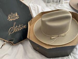 BARDSLEY IRVING STETSON COWBOY HAT Tan Beige Brown 6 7/8 In Original Box