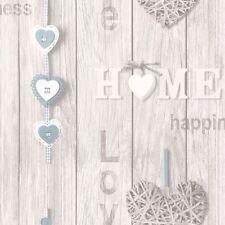 Fine Decor Wallpaper - Love Your Home - Wood Panels - Blue Hearts - FD41719