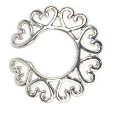 Vogue Silver Surgical Steel Non Piercing Clip On Heart Design Nipple Ring Shield