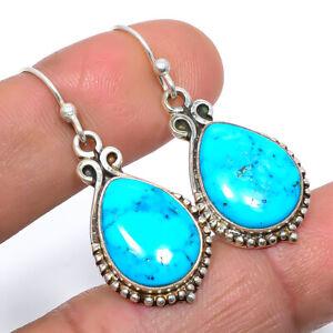 "Magnesite Turquoise Gemstone 925 Sterling Silver Handmade Earring 1.50"" M1554"
