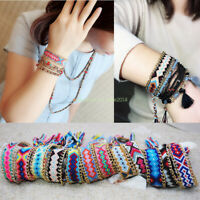Ethnic Handmade Boho Multicolor String Cord Woven Braided Friendship Bracelet