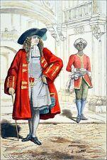 CHEVALIER de l'ORDRE de SAINT-LOUIS & son VALET sous Louis XIV - Gravure du 19e