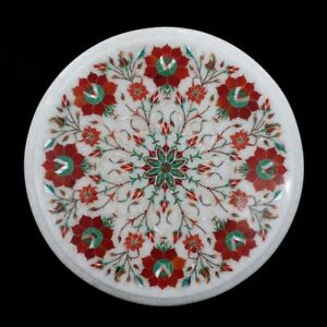 """12"""" Marble corner Table Floral Inlay Work Home room Furniture"""
