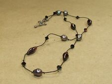 Vintage Baroque Pearl & Glass Beaded Sterling Toggle Necklace on Braided Chord