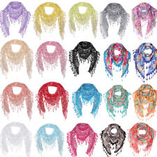 Women Lace Sheer Floral Triangle Veil Church Mantilla Scarf Tassel Party Beauty
