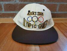 2004 Athens Greece Olympic Hat Cap Tan with logo adjustable slide back vintage