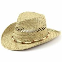 40ed33d0263 Straw Cowboy Hat Hawkins Wood Band Cap Mens Womens Band Ladies Fedora
