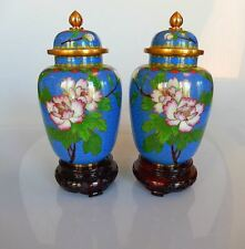Chinese Cloisonne 2 Mirror Image Ginger Jars Wood Stands Red Sticker on Bottom