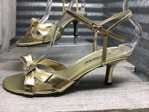 Annie Shoes Vegan Gold Sling Back Rhinestone Bow Kitten Heel Sandal Size 7.5