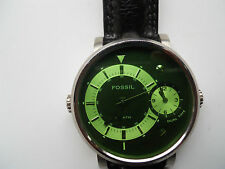Fossil Dual men's black leather quartz,battery & water resistant watch.Fs-4339