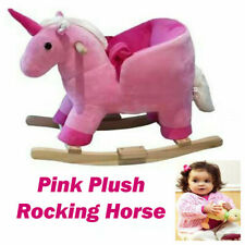 Kids Toy Rocking Horse Wood Plush Pony Wooden Riding Traditional Gift With Music