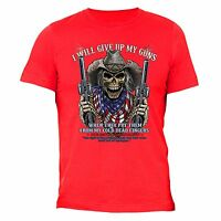 2f11e7fc3b393 Give Up My Guns T-shirt American USA Cold Flag Dead Skull 2nd Second  Amendment