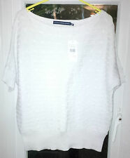 RALPH LAUREN - WOMENS WHITE BOAT NECK SWEATER 100% COTTON CABLE SIZE XL RRP £175