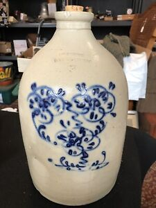 Rare Gorgeous 1800's Somerset Pottersworks 3 Gallon Crock Jug W/ Cobalt Pattern