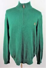 POLO Ralph Lauren~LS~Mens Sz XL~Green w/ Orange Pony~1/4 Zip~Pull Over Sweater