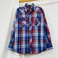 Rustler Men's L Shirt X-Long Tail Pearl Snap Red Blue Plaid NEW NWT #SS