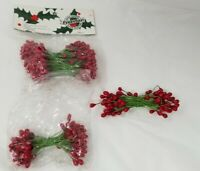 Vintage Millinery Lacquered Red Berry Stamen Hat Stems Sealed Package Pips 4mm