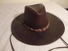 "Henschel ""The Breezer""  Brown Leather Hat - Size Small - NEW With Tags"