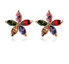 12mm Flower Design Rose Gold Plated Multi Color Cubic Zirconia Stud Earrings P25