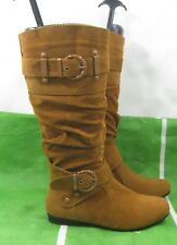 ladies Tan Flat  sexy Knee Boots Round Toe Side Buckle Size  7
